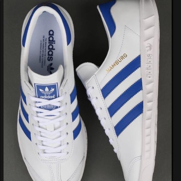 RARE adidas original Hamburg with blue stripe M12